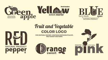 Set of monochrome logos on the theme of fruits and vegetables. For vegetable shops, vegetarian restaurants and cafes, delivery of fruit and vegetable farms. Vector Illustration