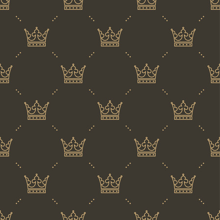 gold textures: Seamless pattern in retro style with a gold crown on a brown background. Can be used for wallpaper, pattern fills, web page background,surface textures. Vector Illustration
