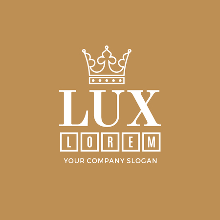 lux: White on a gold background with a picture of the silhouette of the crown and the words Lux. It symbolizes the highest quality, strength, indestructibility. Vector Illustration