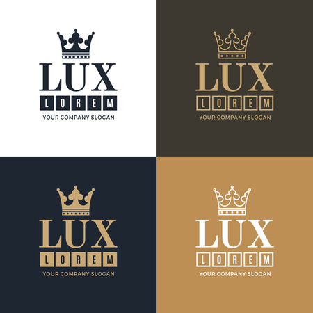 lux: Set gold and white with a picture of the silhouette of the crown and the word Lux. Illustration