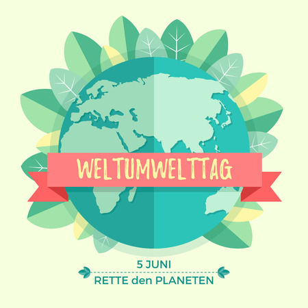 madre tierra: World environment day concept with mother earth globe and green leaves on beige background. With an inscription in German Weltumwelttag, Rette den Planeten.