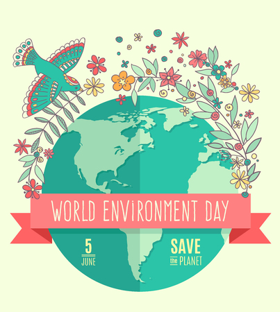 green environment: World environment day concept with mother earth globe and green leaves and flowers on beige background.