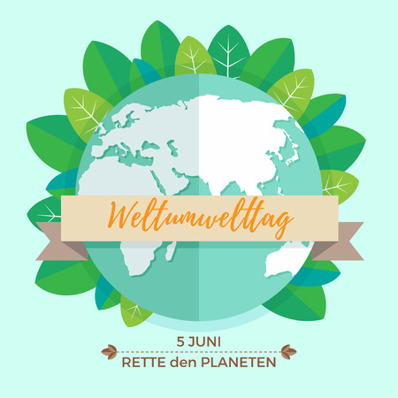 environmental awareness: World environment day concept with mother earth globe and green leaves on mint background. Illustration
