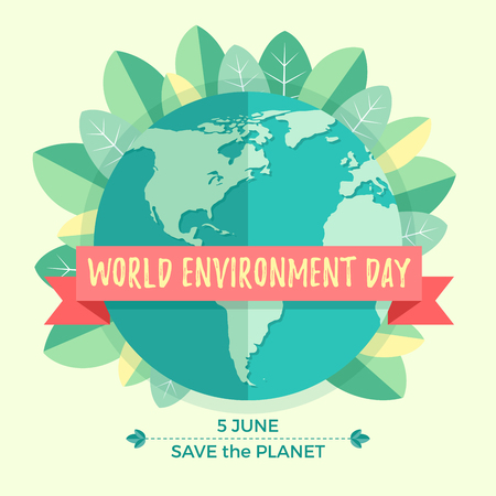 madre tierra: Concepto del d�a mundial del medio ambiente con el globo de la madre tierra y hojas verdes sobre fondo beige. Con una inscripci�n salvar el planeta, 5 de junio.