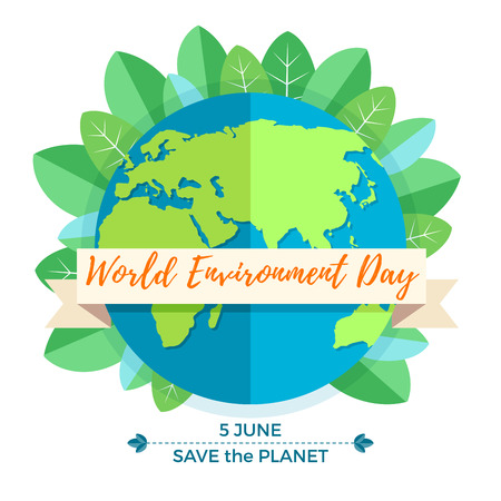 madre tierra: World environment day concept with mother earth globe and green leaves on white background. With an inscription Save the Planet, 5 June.