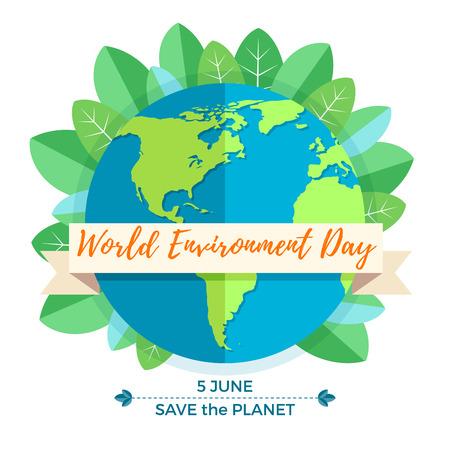 World Environment Day concept met moeder aarde globe en groene bladeren op een witte achtergrond. Met een inscriptie Save the Planet. Vector Illustratie