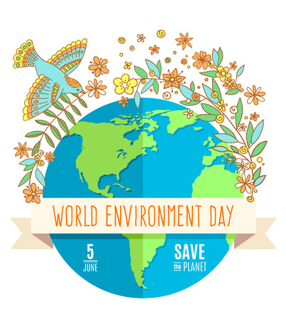 environmental awareness: World environment day concept with mother earth globe and green leaves and flovers on white background. With an inscription Save the Planet.