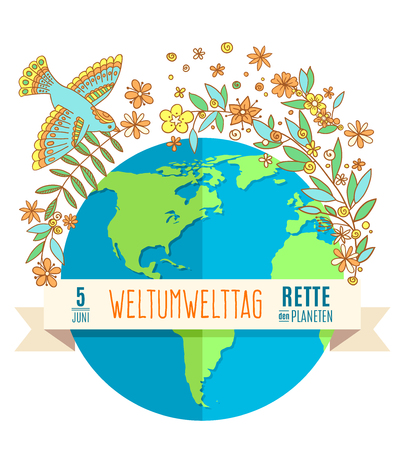 madre tierra: World environment day concept with mother earth globe and green leaves and flovers on white background. German translation of the inscription: World Environment day. Save the Planet. 5 June. Vectores