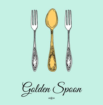 grunge cutlery: Hand drawn illustration of curly ornamental silver tableware, cutlery on mint background.