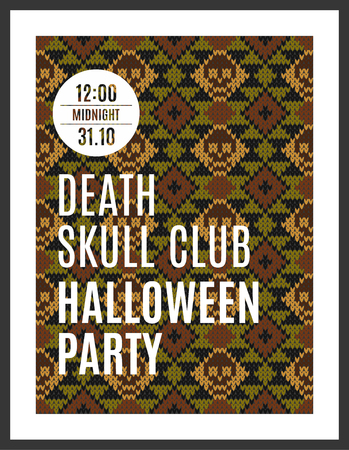 lair: Flyer for a holiday with the inscription HALLOWEEN PARTY IN THE CLUB DEATH SKULL. MIDNIGHT. Brown skull on a dark green background for design flyers, invitations, coupons. Wool knitted texture. Vector Illustration. Illustration