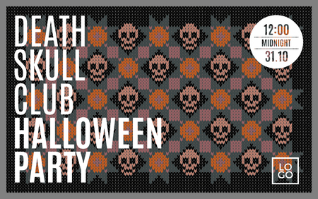 sepulcher: Flyer for a holiday with the inscription HALLOWEEN PARTY, CLUB DEATH SKULL, MIDNIGHT. Brown skull on a dark green background for design flyers, invitations, coupons. Wool knitted texture. Vector Illustration. Illustration
