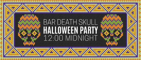lair: Flyer for a holiday with the inscription HALLOWEEN PARTY, BAR DEATH SKULL, MIDNIGHT. Brown skull on a dark green background for design flyers, invitations, coupons. Wool knitted texture. Vector Illustration.
