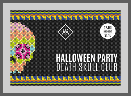 Flyer for a holiday with the inscription HALLOWEEN PARTY, CLUB DEATH SKULL, MIDNIGHT. Brown skull on a dark green background for design flyers, invitations, coupons. Wool knitted texture. Vector Illustration. Illustration