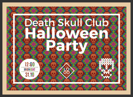 lair: Flyer for a holiday with the inscription HALLOWEEN PARTY, CLUB DEATH SKULL, MIDNIGHT. Brown skull on a dark green background for design flyers, invitations, coupons. Wool knitted texture. Vector Illustration. Illustration