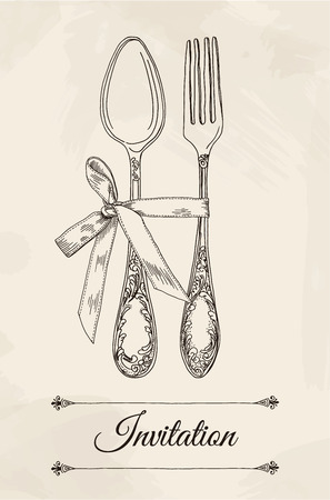 settings: Hand drawn vector illustration of curly cutlery and bow on a beige background watercolor background and texture. Table setting set. Hand drawn design element. Sketch, vintage. Vector Illustration.