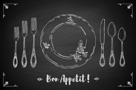 plate setting: Hand drawn illustration of curly ornamental silver tableware, plate a black chalkboard background. Table setting set. Hand drawn design element. Sketch, vintage. Vector Illustration.