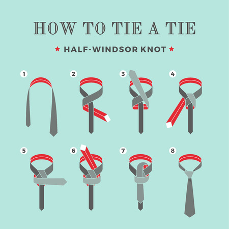 Instructions on how to tie a tie on the turquoise background of the eight steps. Half-Windsor knot . Vector Illustration Ilustração