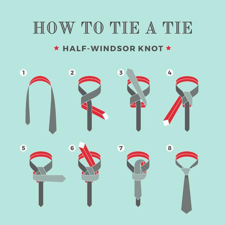 Instructions sur comment attacher une cravate sur le fond turquoise des huit étapes. Demi-Windsor noeud. Illustration vectorielle Vecteurs