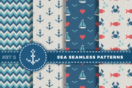 woolen: Sea and nautical backgrounds in white, turquoise, red and dark blue colors. Sea theme. Set seamless patterns collection. Woolen knitted texture. Vector Illustration
