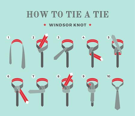Instrukcje, jak zawiązać krawat na turkusowym tle ośmiu kroków. Węzeł Windsor. Ilustracja wektorowa