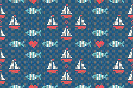 woolen: Sea and nautical backgrounds in white, turquoise, red and dark blue colors. Sea theme. Seamless patterns. Woolen knitted texture. Vector Illustration Illustration