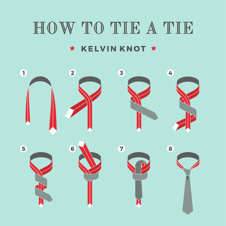 Instructions on how to tie a tie on the turquoise background of the eight steps. Kelvin knot . Vector Illustration