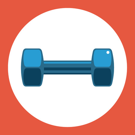 Dumbell icon. Blue dumbell on a red background. Sports Equipment. Vector Illustration