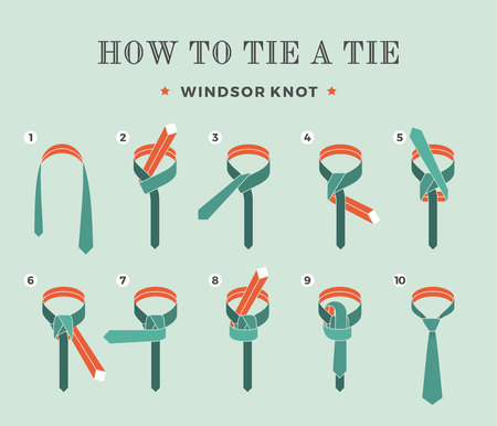 windsor: Instructions on how to tie a tie on the turquoise background of the eight steps. Windsor knot . Vector Illustration