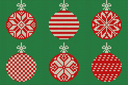 Merry Christmas and New Year seamless knitted pattern with Christmas balls and snowflakes. Scandinavian style. Winter Holiday Sweater Design. Vector Illustration
