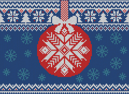 Merry Christmas and New Year seamless knitted pattern with Christmas balls, snowflakes and fir. Scandinavian style. Winter Holiday Sweater Design. Vector Illustration Illustration