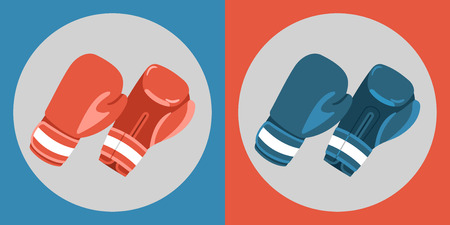 upside: Boxing gloves icon. Color boxing gloves on a blue and red background. Sports Equipment. Vector Illustration