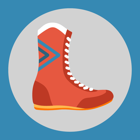 Boxing boots icon. Red boxing shoes on a blue background. Sports Equipment. Vector Illustration