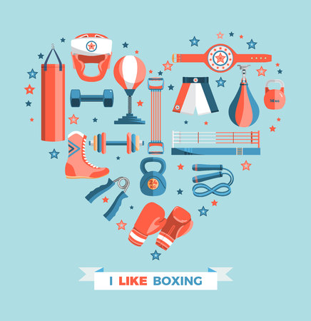 punching: Set of boxing equipment vector colorful design elements isolated on blue background. Vector Illustration.