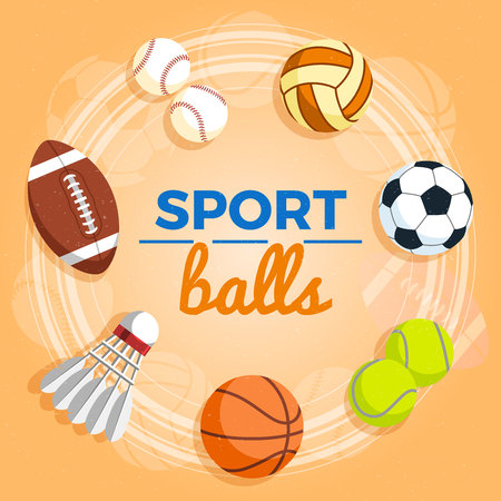 Set of colorful sport balls at a yellow background. Balls for rugby, volleyball, basketball, football, baseball, tennis and badminton shuttlecock. Vector Illustration