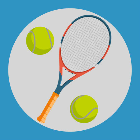 racquet: Tennis racquet icon. Colorful tennis racquet and two yellow tennis balls on a blue background. Sports Equipment. Vector Illustration