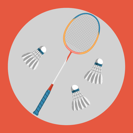 racquet: Badminton racquet icon. Colorful badminton racquet and three badminton shuttlecocks on a red background. Sports Equipment. Vector Illustration. Illustration