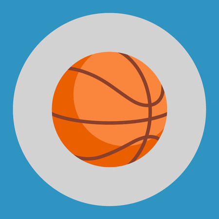 Basketball ball icon. Colorful basketball ball on a blue background. Sports Equipment. Vector Illustration.