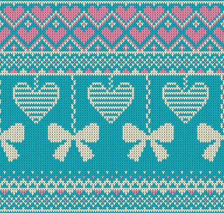 isles: Seamless pattern on the theme of holiday Valentines Day with an image of the Norwegian and fairisle patterns. White bows and hearts on a turquoise background. Wool knitted texture. Vector Illustration