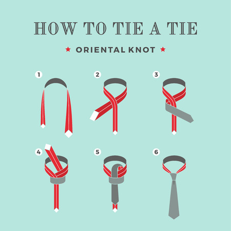 Instructions on how to tie a tie on the turquoise background of the six steps. Oriental knot. Vector Illustration.