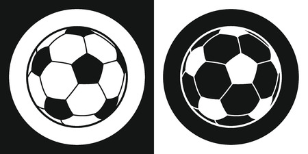 Soccer ball icon. Silhouette soccer ball on a black and white background. Sports Equipment. Vector Illustration.