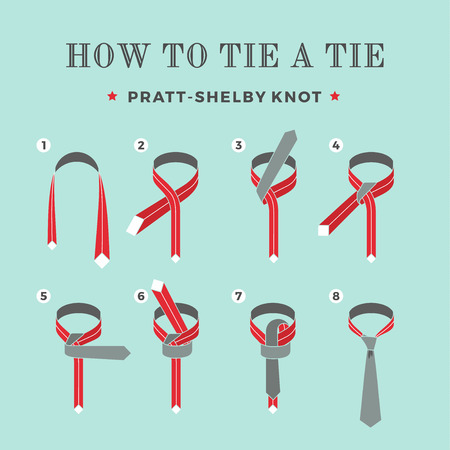Instructions on how to tie a tie on the turquoise background of the six steps. Pratt-Shelby knot. Vector Illustration.