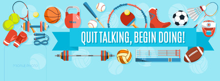 Set of sport balls and gaming items at a turquoise background. Healthy lifestyle tools, elements. Inscription QUIT TALKING, BEGIN DOING. Vector Illustration. Illustration