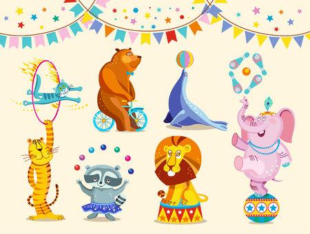 Circus animals decorative icons set. Funny circus elephant, tiger, cat, bear, raccoon, lion perform tricks. Vector Illustration