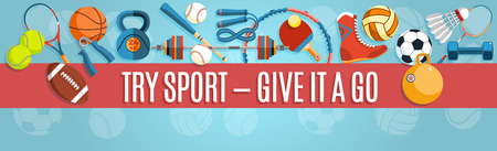 fitball: Set of sport balls and gaming items at a blue background. Healthy lifestyle tools, elements. Vector Illustration.