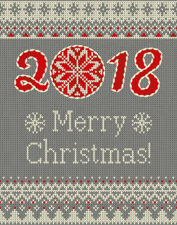 Merry Christmas and New Year seamless knitted pattern with Christmas balls, snowflakes and fir. Scandinavian style. Winter Holiday Sweater Design. Vector Illustration. Vector Illustration