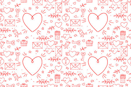 Seamless doodles Valentines pattern. Cartoon romantic objects: heart, wings, branch with leaves bird, gift, lock, key, letter on white background. Love signs, design elements and symbols. Vector illustration