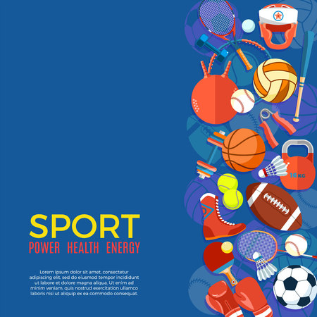 Banner of sport balls and gaming equipment. Poster with text Sport for banner, sticker, web. Healthy lifestyle tools, elements. Vector Illustration Illustration