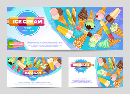 Ice cream poster. Brightly colored ice cream, waffle cones, popsicles on a beautiful background. Foto de archivo - 99272745
