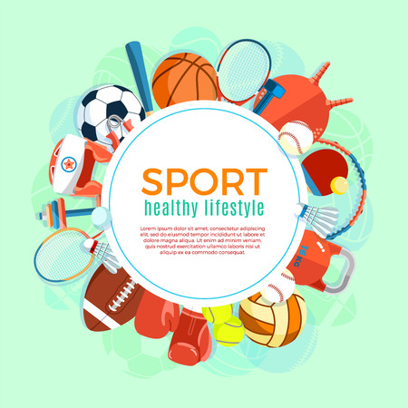 Banner of sport balls and gaming equipment. Poster with text Sport for banner, sticker, web.  イラスト・ベクター素材