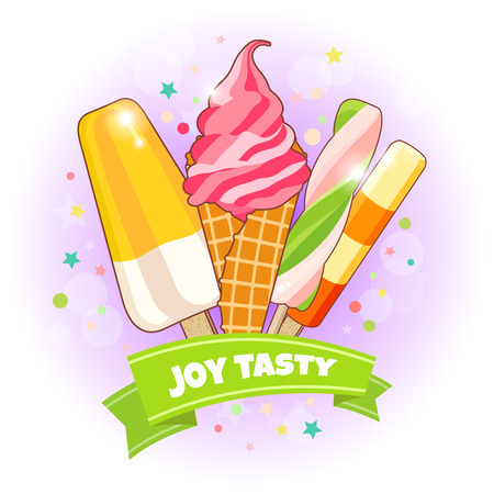 Ice cream poster. Brightly colored ice cream, waffle cones, popsicles on a beautiful background. Cartoon illustration for web, advertising, banner, poster, flyer, business card. Vector illustration.